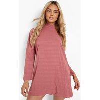 Womens Textured Long Sleeve Shift Dress - Pink - 18, Pink