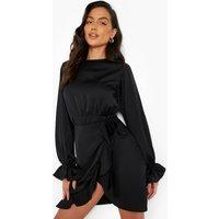 Womens Satin Frill Sleeve Ruffle Mini Dress - Black - 16, Black