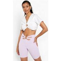 Womens Cut Out Cycling Shorts - Purple - 14, Purple