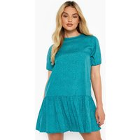 Womens Polka Dot Shift Dress - Green - 16, Green