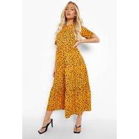 Womens Cotton Spot Print Midaxi Smock Dress - Yellow - 12, Yellow