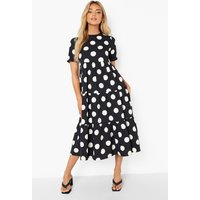 Womens Cotton Polka Dot Midaxi Smock Dress - Black - 10, Black