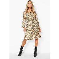 Womens Animal Button Front Midi Dress - Beige - 10, Beige