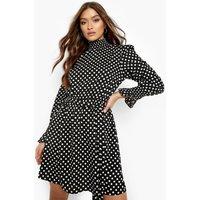 Womens Polka Dot Shirred Neck Belted Skater Dress - Black - 12, Black