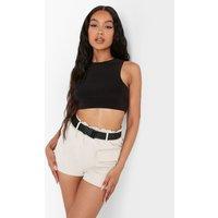 Womens Pocket Belted Utility Shorts - Beige - 8, Beige