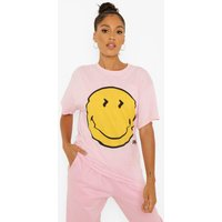 Womens Smiley License Print Oversized T-Shirt - Pink - M, Pink