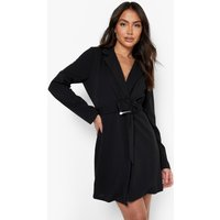 Womens Buckle Detail Wrap Blazer Dress - Black - 12, Black