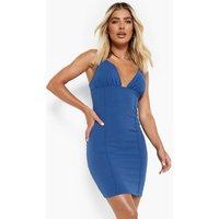 Womens Seam Detail Plunge Mini Dress - Blue - 12, Blue