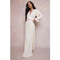 Womens Pleated Plunge Ruffle Detail Maxi Dress - Beige - 16, Beige