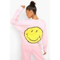 Womens Smiley License Print Sweatshirt - Pink - S, Pink