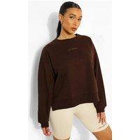Womens Official Embroidered Split Hem Sweatshirt - Brown - S, Brown