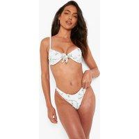 Womens Embroidered Underwire Tie Front Bikini Top - White - 10, White