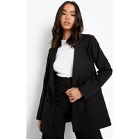 Womens Oversized Double Breasted Blazer - Black - 12, Black