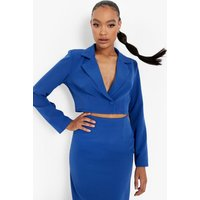 Womens Cropped Fitted Tailored Blazer - Azure - 16, Azure