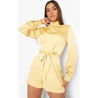 Womens Satin Belted High Neck Playsuit - Yellow - 12, Yellow