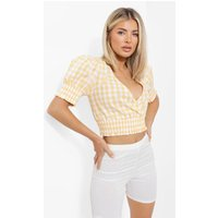 Yellow Gingham Shirred Crop Top