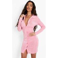 Womens Textured Slinky Gathered Shirt Dress - Pink - 16, Pink