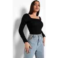 Womens Crepe Square Neck Ruched Sleeve Top - Black - 8, Black