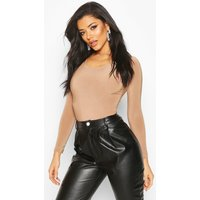 Womens Double Layer Long Sleeve Bodysuit - Beige - 12, Beige