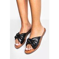 Womens Soft Bow Flat Sandal - Black - 3, Black