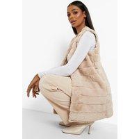 Womens Panelled Faux Fur Gilet - Beige - 8, Beige
