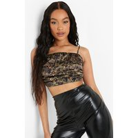 Womens Leopard Satin Ruched Cropped Cami - Green - 12, Green