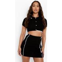 Womens Seam Detail Knitted Co-Ord - Black - M, Black