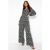 Womens Floral Lace Up Back Wide Leg Jumpsuit - Black - 14, Black
