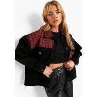 Womens Brush Check Panel Oversized Denim Jacket - Black - 6,