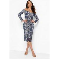 Womens Lace Sweetheart Bardot Midi Dress - Navy - 16, Navy