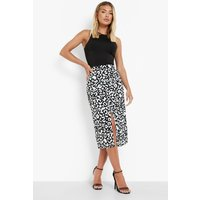 Womens Button Front Woven Animal Print Midi Skirt - Black - 14, Black