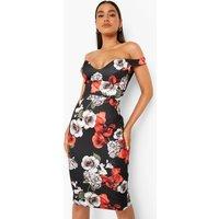 Womens Floral Print Off Shoulder Bodycon Midi Dress - Black - 16, Black