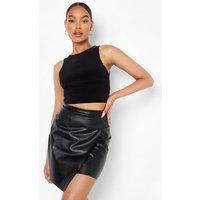 Womens Leather Look Pu Wrap Mini Skirt - Black - 10, Black