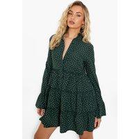 Womens Polka Tiered Smock Dress - Green - 10, Green
