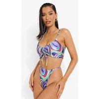 Neon Marble Ruched Tanga Bikini Brief