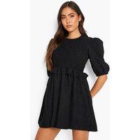 Womens Cord Ruffle Detail Shirred Smock Dress - Black - 8, Black
