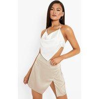 Womens Satin High Split Mini Skirt - Beige - 6, Beige