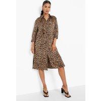 Womens Leopard Print Midi Dress - Brown - Xs, Brown