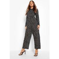 Womens Polka Dot Long Sleeve Smock Jumpsuit - Black - 14, Black