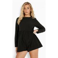 Womens Long Sleeve Tiered Smock Playsuit - Black - 10, Black