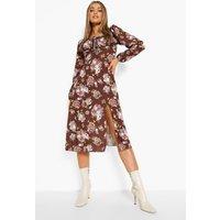 Womens Floral Print Puff Split Midi Dress - Brown - 8, Brown