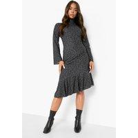 Womens Polka Dot Frill Drop Hem Midi Dress - Black - 12, Black