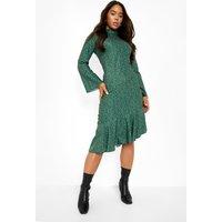 Womens Polka Dot Frill Drop Hem Midi Dress - Green - 12, Green