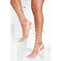 Womens Clear Strappy Patent Court Shoes - Beige - 4, Beige