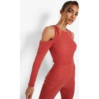 Womens Crinkle Cold Shoulder Cut Out Bodysuit - Orange - 8, Orange