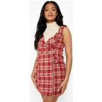 Womens Check Print Zip Through Pinafore Dress - Red - 14, Red