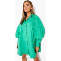 Womens Oversized Batwing Balloon Sleeve Shirt Dress - Green - 10, Green