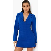 Womens Shirred Pep Hem Shirt Dress - Blue - 12, Blue