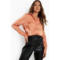 Womens Premium Shimmer Satin Shirt - Orange - 8, Orange