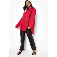Womens Oversized Cotton Shirt - Purple - 14, Purple